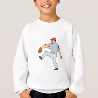 Baseball Player Pitcher Ready to Throw Ball Cartoo Sweatshirt