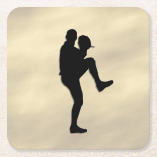 Baseball Player Pitcher Square Paper Coaster