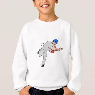 Baseball Player Pitcher Throw Ball Cartoon Sweatshirt