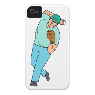 Baseball Player Pitcher Throwing Motion Cartoon Case-Mate iPhone 4 Cases