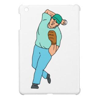 Baseball Player Pitcher Throwing Motion Cartoon iPad Mini Cover