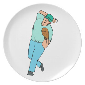 Baseball Player Pitcher Throwing Motion Cartoon Plate