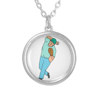 Baseball Player Pitcher Throwing Motion Cartoon Silver Plated Necklace