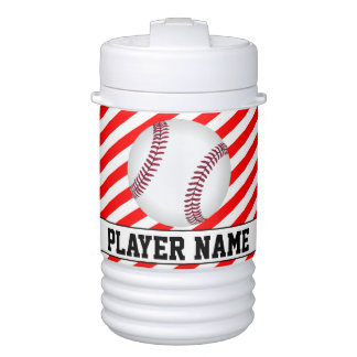 Baseball Player Red & White Stripes Custom Cooler