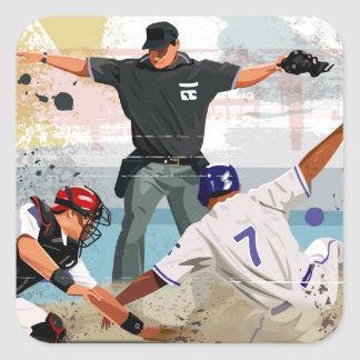 Baseball player safe at home plate square sticker