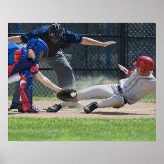 Baseball player sliding into home plate poster