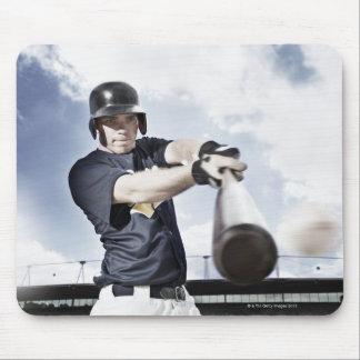 Baseball player swinging baseball bat 2 mouse pad