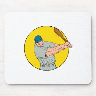 Baseball Player Swinging Bat Drawing Mouse Pad