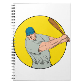 Baseball Player Swinging Bat Drawing Notebook