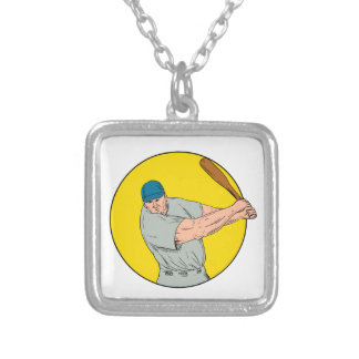 Baseball Player Swinging Bat Drawing Silver Plated Necklace