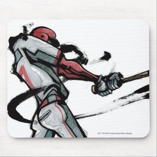 Baseball player swinging bat, side view mouse pad