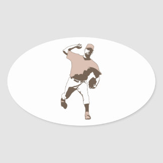 baseball player throwing vector graphic oval sticker
