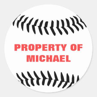 Baseball Property Of Round Sticker