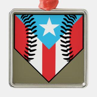 Baseball Puerto Rico Silver-Colored Square Ornament