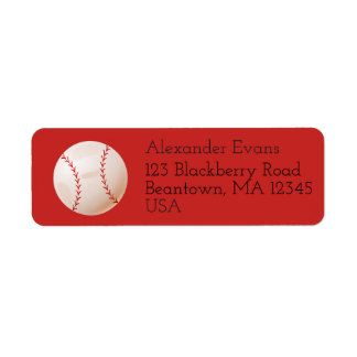 Baseball Return Address Label