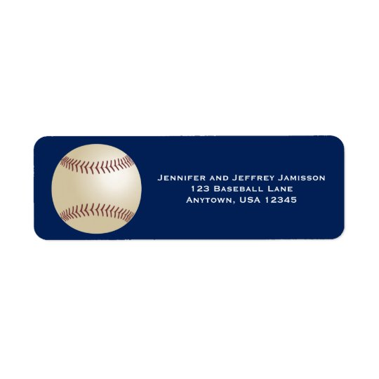 Baseball Return Address Labels on Dark Blue