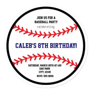 Baseball Round Birthday Party Sports Invitation