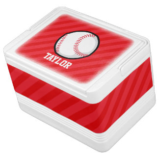 Baseball; Scarlet Red Stripes