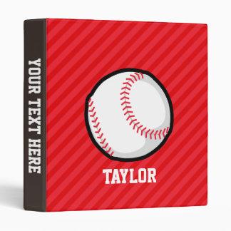 Baseball; Scarlet Red Stripes 3 Ring Binder