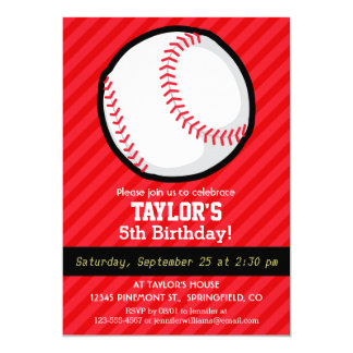 Baseball; Scarlet Red Stripes 5x7 Paper Invitation Card