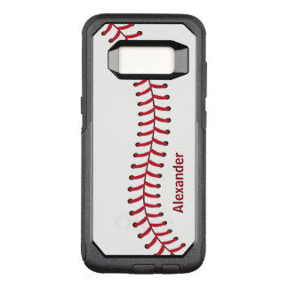 Baseball seam pattern name monogram OtterBox commuter samsung galaxy s8 case