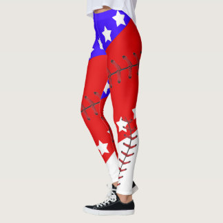 Baseball Season Fourth of July Leggings