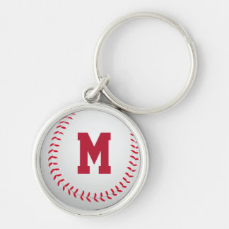 Baseball Silver-Colored Round Keychain