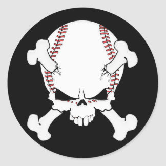 Baseball Skull Round Sticker