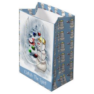 Baseball Snowman Christmas Medium Gift Bag