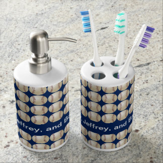 Baseball Soap Dispenser and Toothbrush Holder Set