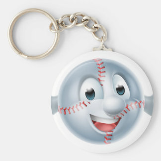 Baseball Softball Ball Man Character Basic Round Button Keychain