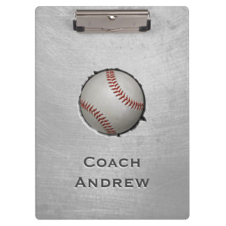 Baseball Softball Coach Custom Name Grunge Texture Clipboard