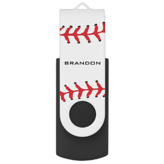 Baseball Softball Design Flash Drive Swivel USB 2.0 Flash Drive