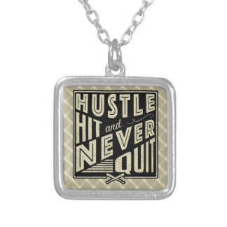 Baseball Softball Hustle, Hit Never Quit Necklace