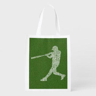 Baseball Softball Player Typographic Reusable Grocery Bag