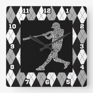 Baseball Softball Player Typographic Wall Clock
