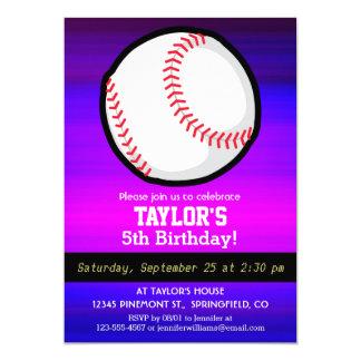Baseball, Softball Vibrant Violet Blue and Magenta 5x7 Paper Invitation Card