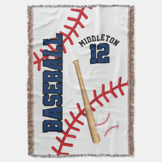 Baseball Sport Ball Design - Blue Throw Blanket