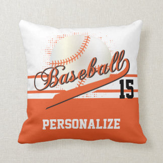Baseball Sport | DIY Name & Number | Orange Throw Pillow