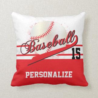 Baseball Sport | DIY Name & Number | Red Throw Pillow