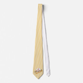 Baseball Sport in Gold and White Stripes Tie