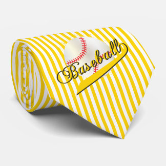 Baseball Sport in Yellow and White Stripes Tie