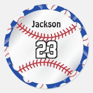 Baseball Sport | Personalize  - Blue Round Sticker