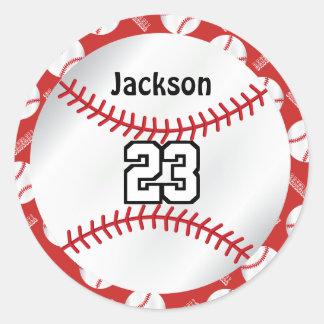 Baseball Sport | Personalize  - Red Round Sticker