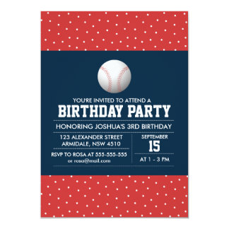 Baseball sport theme birthday boy party invitation