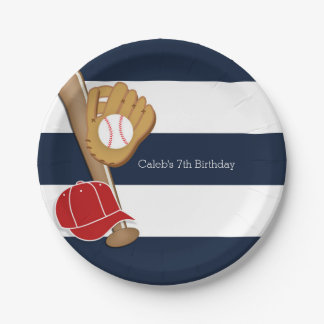 Baseball Sports Blue & White Striped Custom Party 7 Inch Paper Plate