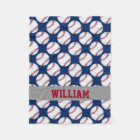 Baseball Sports Personalized Red White Blue Fleece Blanket