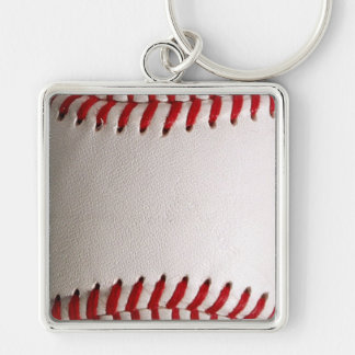 Baseball Sports Silver-Colored Square Keychain