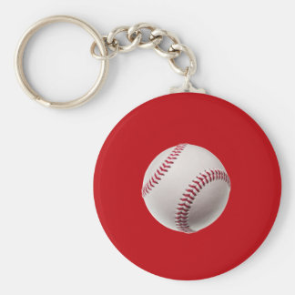 Baseball - Sports Template Baseballs on Red Basic Round Button Keychain