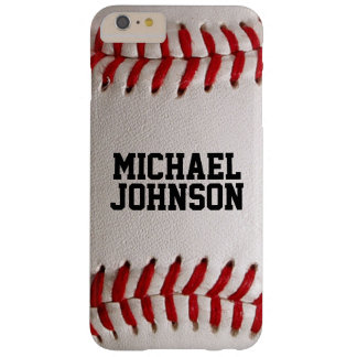Baseball Sports Texture with Personalized Name Barely There iPhone 6 Plus Case